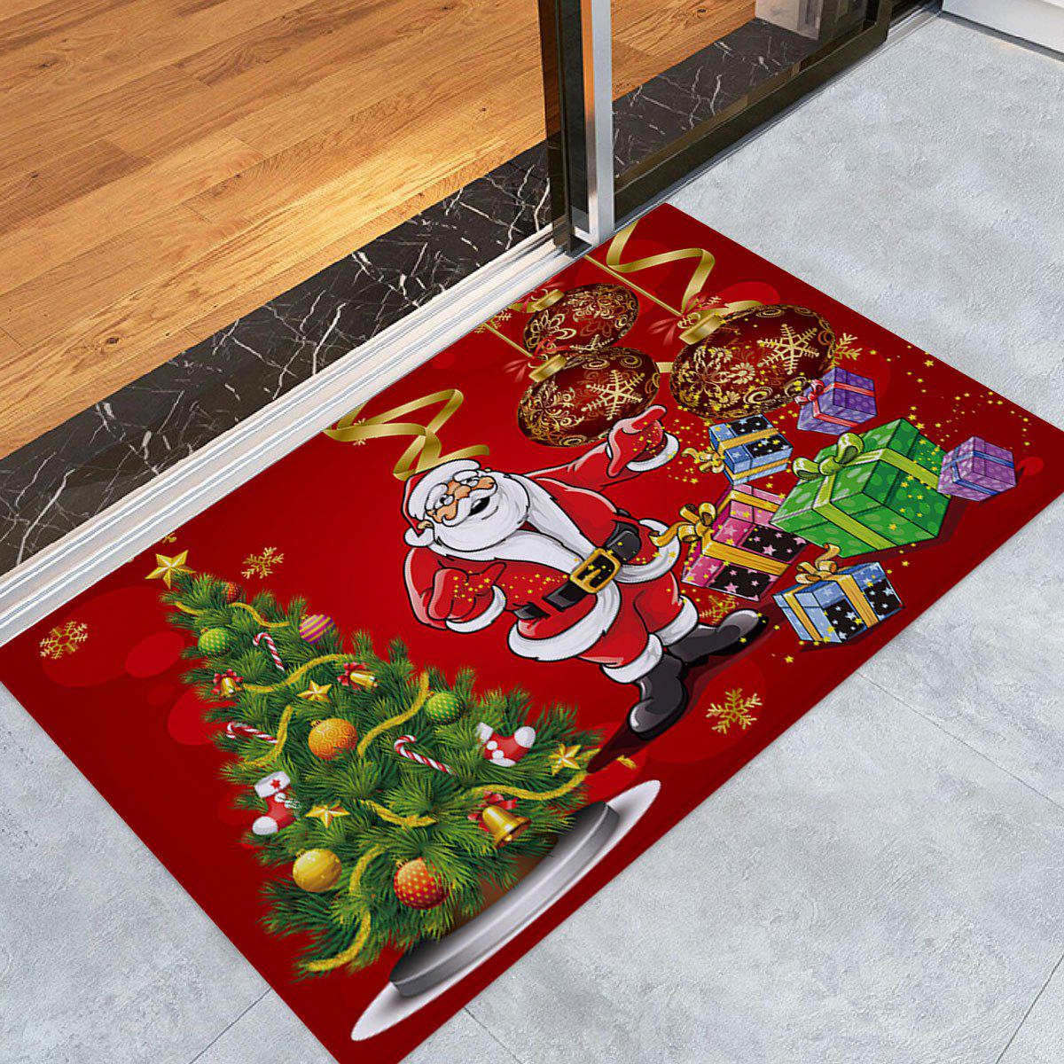 Christmas Tree Santa Baubles Pattern Anti-skid Water Absorption Area RugHOME<br><br>Size: W24 INCH * L35.5 INCH; Color: COLORMIX; Products Type: Bath rugs; Materials: Coral FLeece; Pattern: Ball,Christmas Tree,Gift,Santa Claus; Style: Festival; Shape: Rectangle; Package Contents: 1 x Rug;