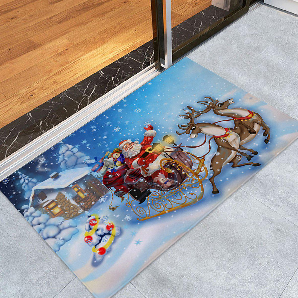 Christmas House Santa Sleigh Pattern Anti-skid Water Absorption Area RugHOME<br><br>Size: W24 INCH * L35.5 INCH; Color: COLORMIX; Products Type: Bath rugs; Materials: Coral FLeece; Pattern: Animal,Santa Claus; Style: Festival; Shape: Rectangle; Package Contents: 1 x Rug;