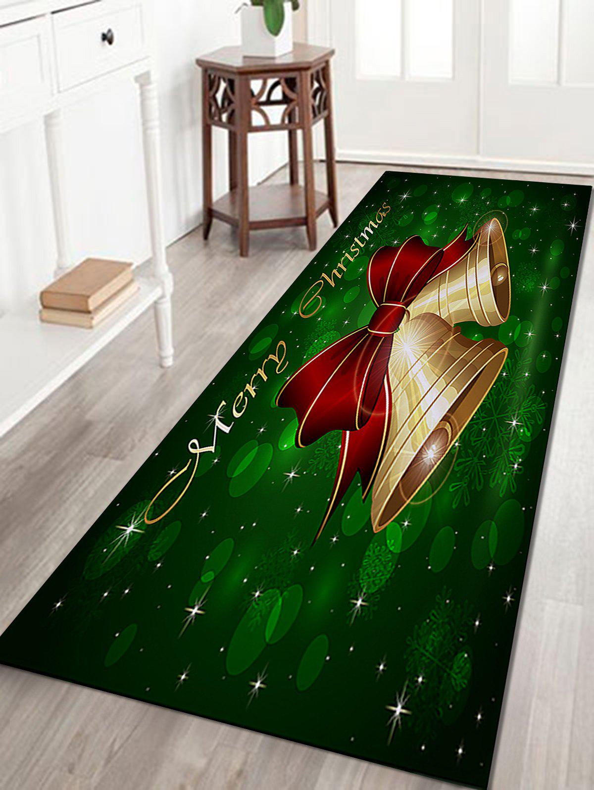 Christmas Bells Letter Pattern Anti-skid Water Absorption Area RugHOME<br><br>Size: W24 INCH * L71 INCH; Color: COLORMIX; Products Type: Bath rugs; Materials: Coral FLeece; Pattern: Bowknot; Style: Festival; Shape: Rectangle; Package Contents: 1 x Rug;