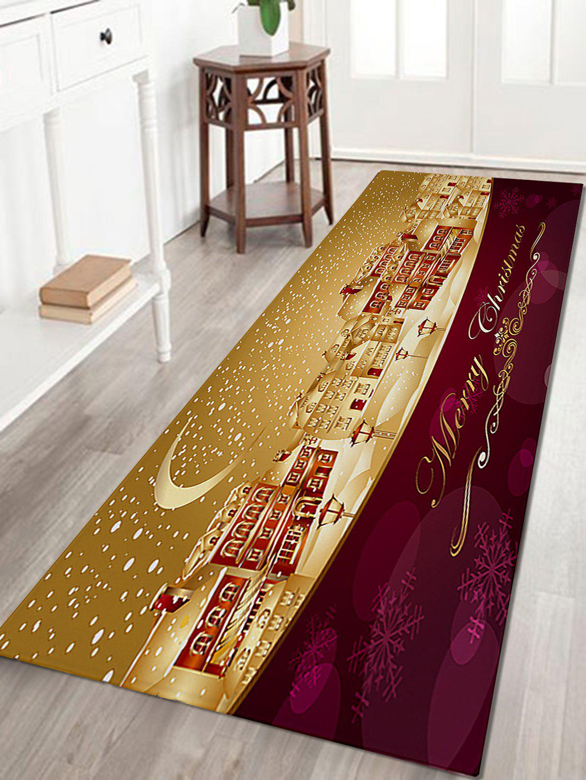 Snowy Christmas City Pattern Anti-skid Water Absorption Area RugHOME<br><br>Size: W16 INCH * L47 INCH; Color: COLORMIX; Products Type: Bath rugs; Materials: Coral FLeece; Pattern: Letter,Moon; Style: Festival; Shape: Rectangle; Package Contents: 1 x Rug;