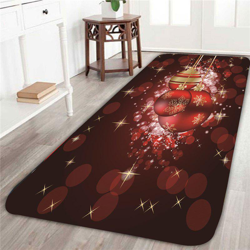 Skidproof Red Baubles Printed RugHOME<br><br>Size: W24 INCH * L71 INCH; Color: RED; Products Type: Bath rugs; Materials: Coral FLeece; Pattern: Ball; Style: Festival; Shape: Rectangle; Package Contents: 1 x Rug;