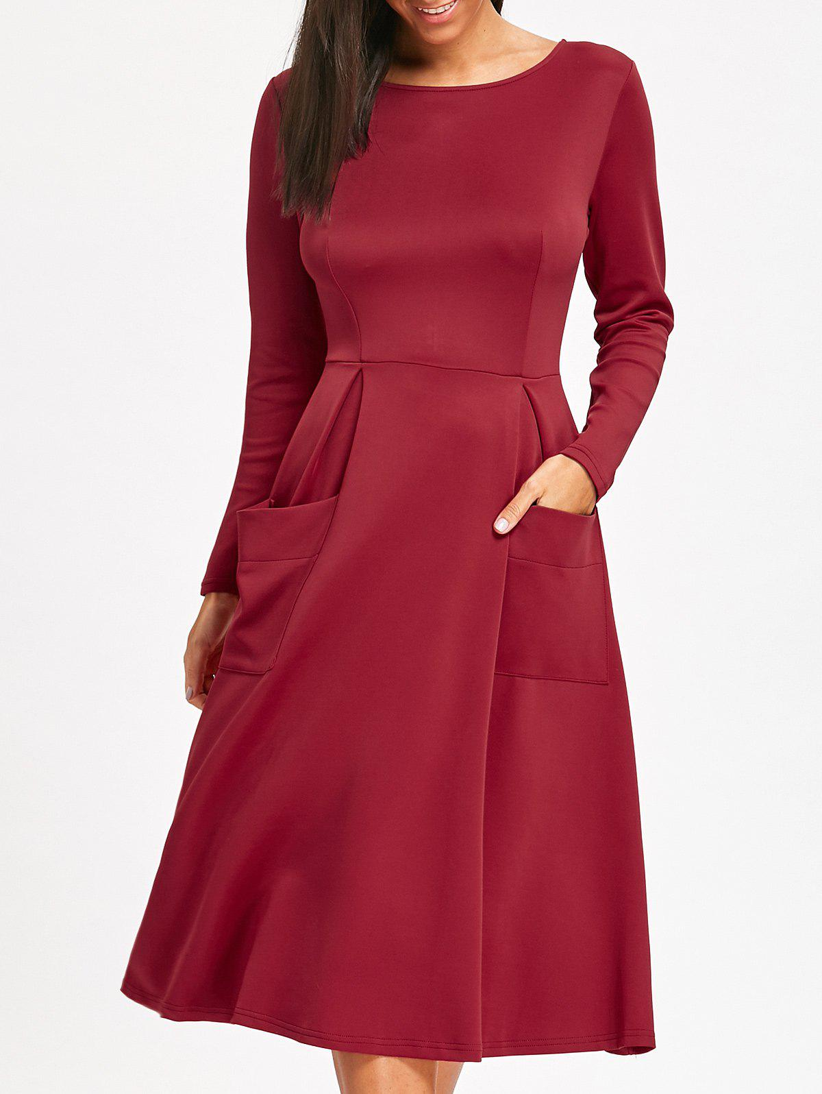 Long Sleeve Pockets A Line Midi DressWOMEN<br><br>Size: M; Color: WINE RED; Style: Casual; Material: Polyester; Silhouette: A-Line; Dresses Length: Mid-Calf; Neckline: Jewel Neck; Sleeve Length: Long Sleeves; Embellishment: Pockets; Pattern Type: Solid Color; With Belt: No; Season: Fall,Spring; Weight: 0.5450kg; Package Contents: 1 x Dress; Occasion: Casual;