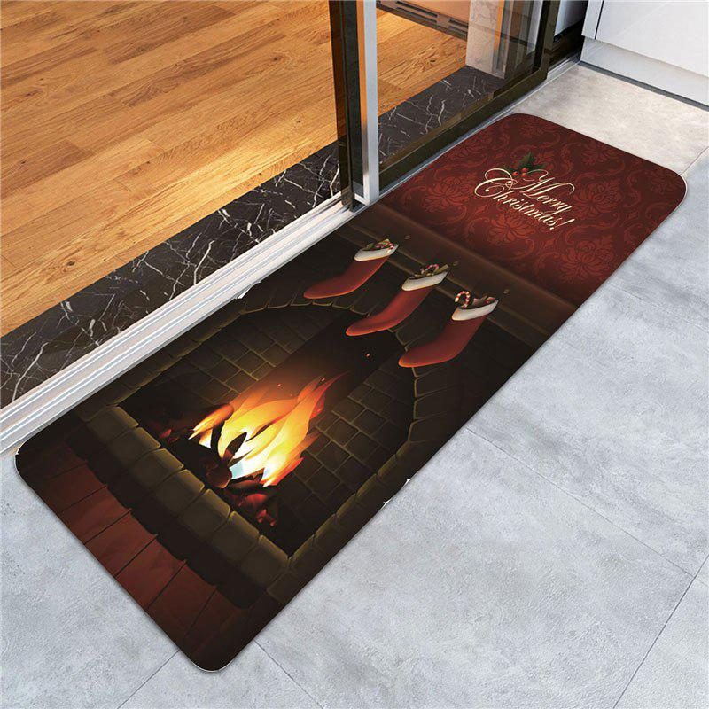 Christmas Burning Fireplace Patterned Area RugHOME<br><br>Size: W24 INCH * L71 INCH; Color: DARK RED; Products Type: Bath rugs; Materials: Coral FLeece; Pattern: Print; Style: Festival; Package Contents: 1 x Area Rug;