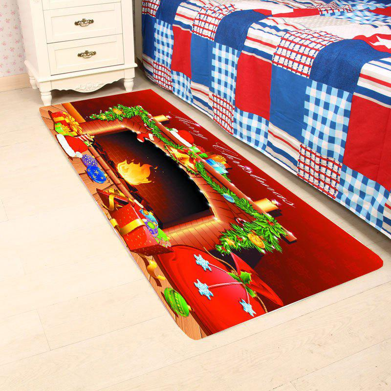 Christmas Fireplace Patterned Antiskid Area RugHOME<br><br>Size: W16 INCH * L47 INCH; Color: RED; Products Type: Bath rugs; Materials: Coral FLeece; Pattern: Ball,Gift; Style: Festival; Shape: Rectangular; Package Contents: 1 x Area Rug;