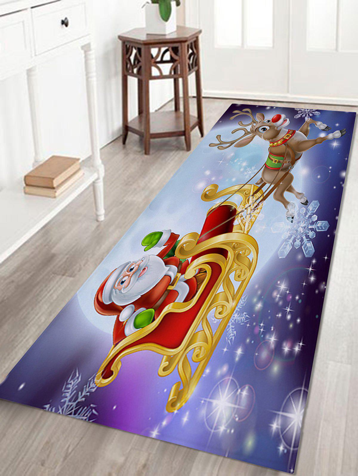 Christmas Sled Print Coral Fleece Skidproof Bath MatHOME<br><br>Size: W24 INCH * L71 INCH; Color: COLORMIX; Products Type: Bath rugs; Materials: Coral FLeece; Pattern: Elk,Santa Claus; Style: Festival; Shape: Rectangular; Package Contents: 1 x Rug;