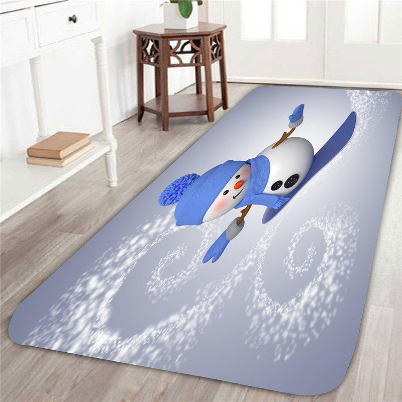 Skateboard Christmas Snowman Printed Skid Resistant RugHOME<br><br>Size: W24 INCH * L71 INCH; Color: GRAY; Products Type: Bath rugs; Materials: Coral FLeece; Pattern: Snowman; Style: Festival; Shape: Rectangle; Package Contents: 1 x Rug;