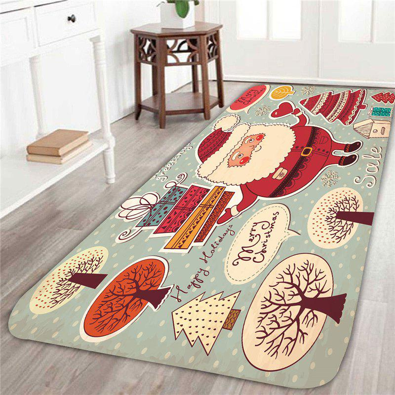 Santa Claus And Trees Patterned Area RugHOME<br><br>Size: W24 INCH * L71 INCH; Color: RED AND WHITE; Products Type: Bath rugs; Materials: Coral FLeece; Pattern: Gift,Santa Claus; Style: Festival; Shape: Rectangular; Package Contents: 1 x Area Rug;