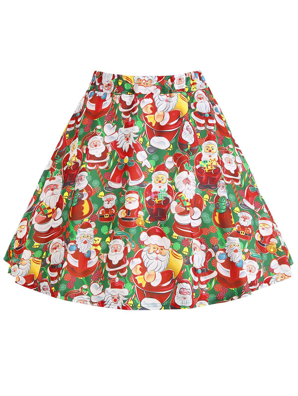 Christmas Santa Claus Print Plus Size SkirtWOMEN<br><br>Size: XL; Color: RED AND GREEN; Material: Polyester; Length: Mini; Silhouette: A-Line; Pattern Type: Print; Season: Winter; With Belt: No; Weight: 0.2600kg; Package Contents: 1 x Skirt;