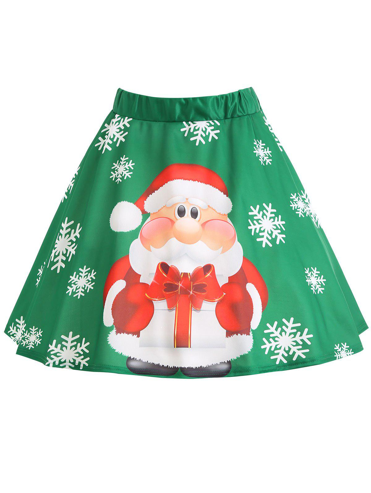 Plus Size Christmas Santa Claus Snowflake SkirtWOMEN<br><br>Size: XL; Color: GREEN; Material: Polyester; Length: Mini; Silhouette: A-Line; Pattern Type: Print; Season: Winter; With Belt: No; Weight: 0.2600kg; Package Contents: 1 x Skirt;