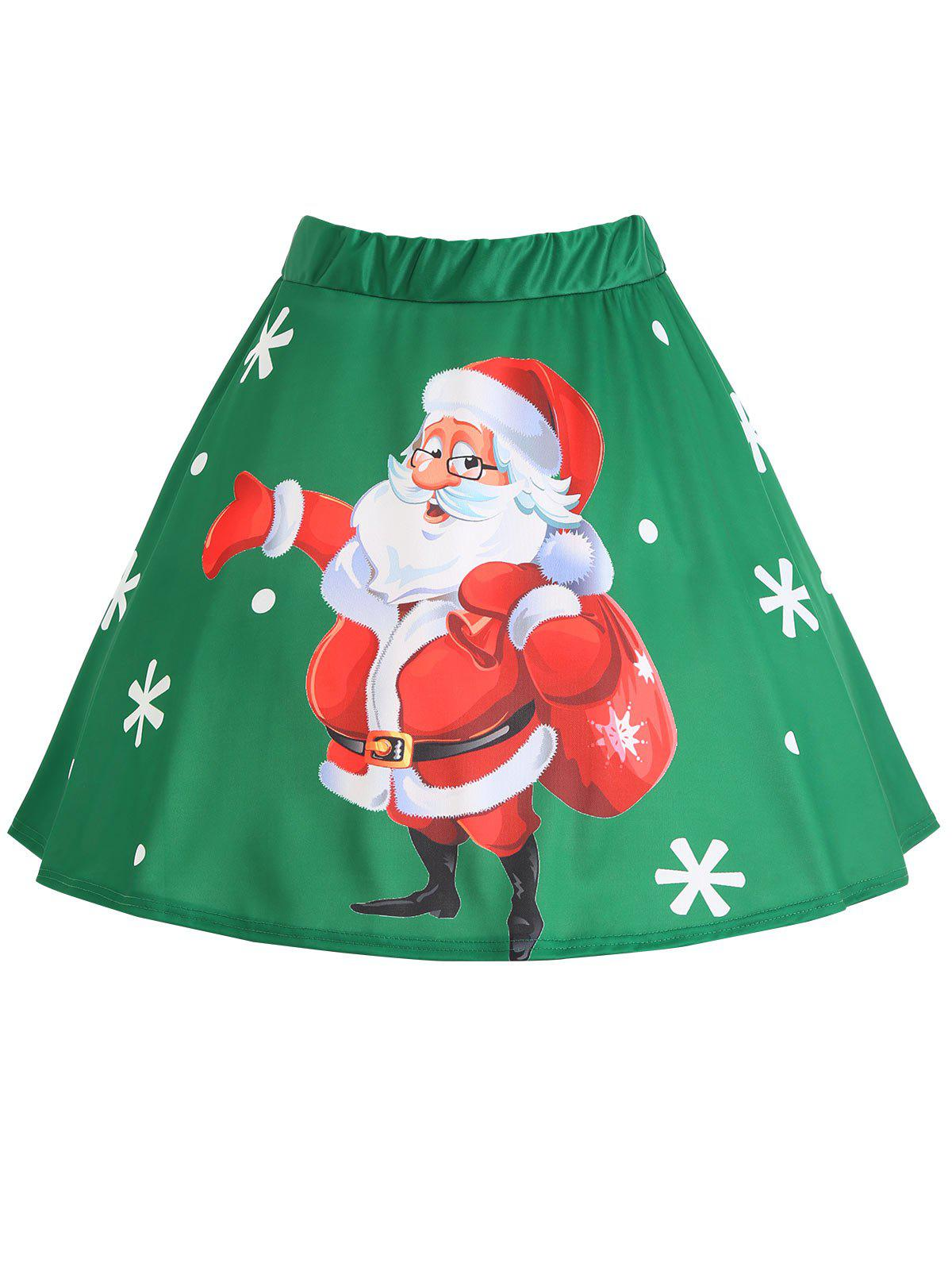 Plus Size Christmas Santa Claus Snowflake Print SkirtWOMEN<br><br>Size: 5XL; Color: GREEN; Material: Polyester; Length: Mini; Silhouette: A-Line; Pattern Type: Print; Season: Winter; With Belt: No; Weight: 0.2600kg; Package Contents: 1 x Skirt;