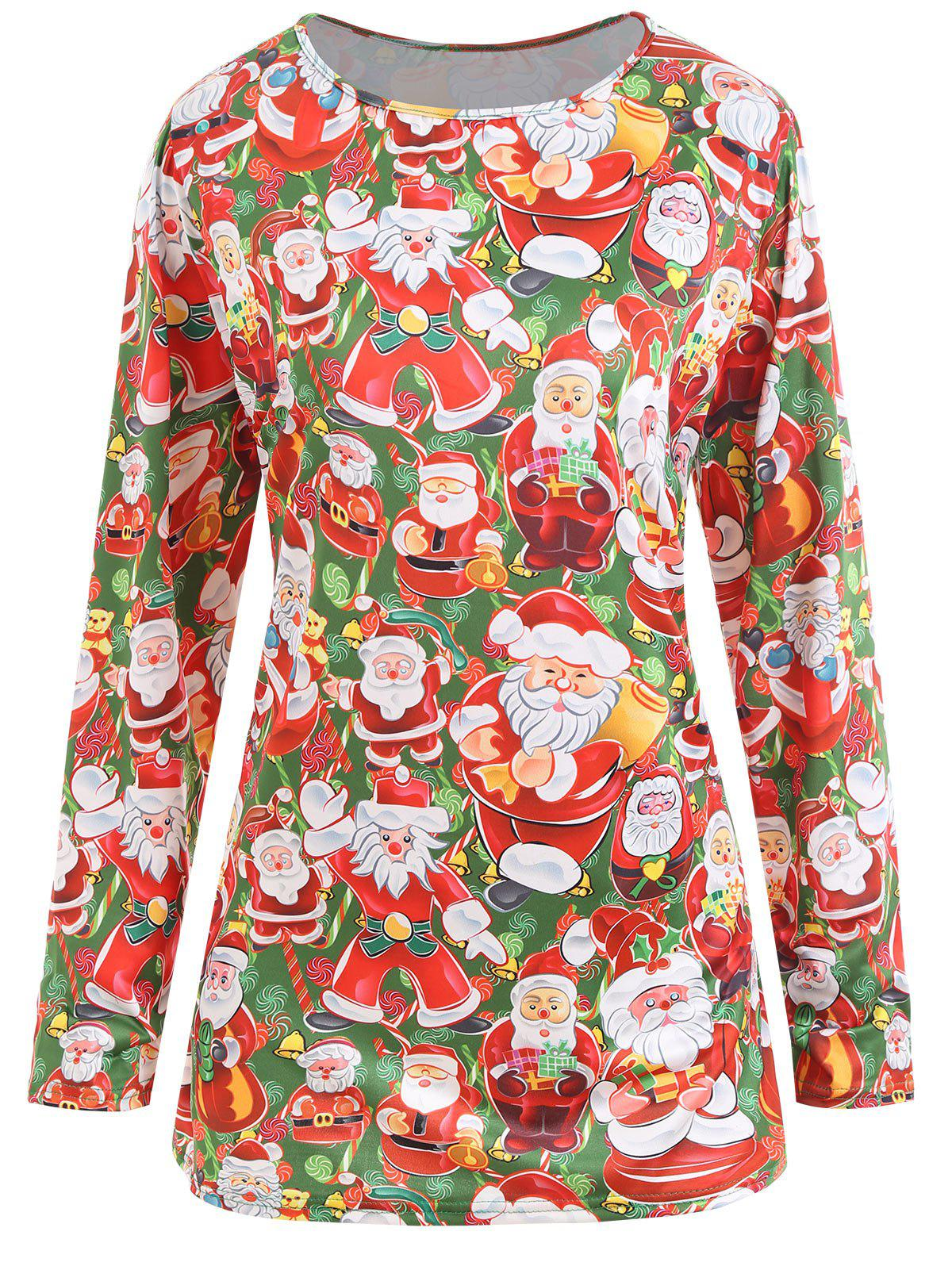 Plus Size Christmas Santa Claus T-shirtWOMEN<br><br>Size: 2XL; Color: RED AND GREEN; Material: Polyester; Shirt Length: Long; Sleeve Length: Full; Collar: Round Neck; Style: Fashion; Season: Winter; Pattern Type: Print; Weight: 0.2150kg; Package Contents: 1 x T-shirt;