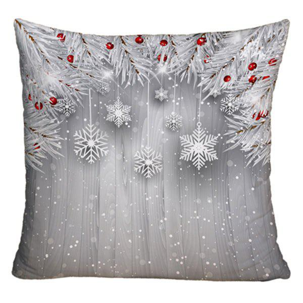 Christmas Printed Decorative Sofa Throw PillowcaseHOME<br><br>Size: W17.5 INCH * L17.5 INCH; Color: SILVER; Material: Polyester / Cotton; Pattern: Plant,Snowflake; Style: Festival; Shape: Square; Weight: 0.1000kg; Package Contents: 1 x Pillowcase;