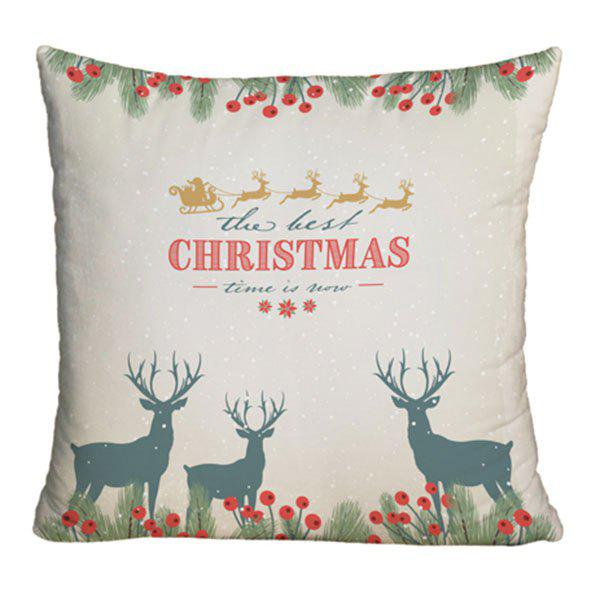 Christmas Deer Print Sofa Decorative Throw Pillow CaseHOME<br><br>Size: W17.5 INCH * L17.5 INCH; Color: COLORMIX; Material: Polyester / Cotton; Pattern: Elk,Letter,Plant; Style: Festival; Shape: Square; Weight: 0.1000kg; Package Contents: 1 x Pillowcase;