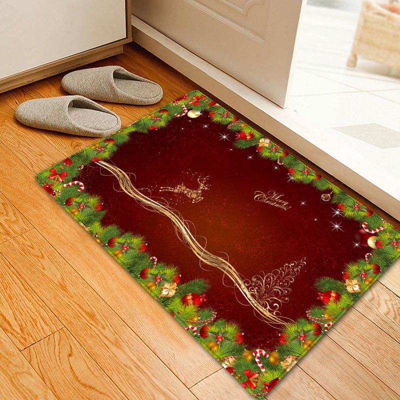 Christmas Pine Branches Deer Pattern Anti-skid Water Absorption Area RugHOME<br><br>Size: W16 INCH * L24 INCH; Color: DEEP RED; Products Type: Bath rugs; Materials: Flannel; Pattern: Animal,Plant; Style: Festival; Shape: Rectangle; Package Contents: 1 x Rug;