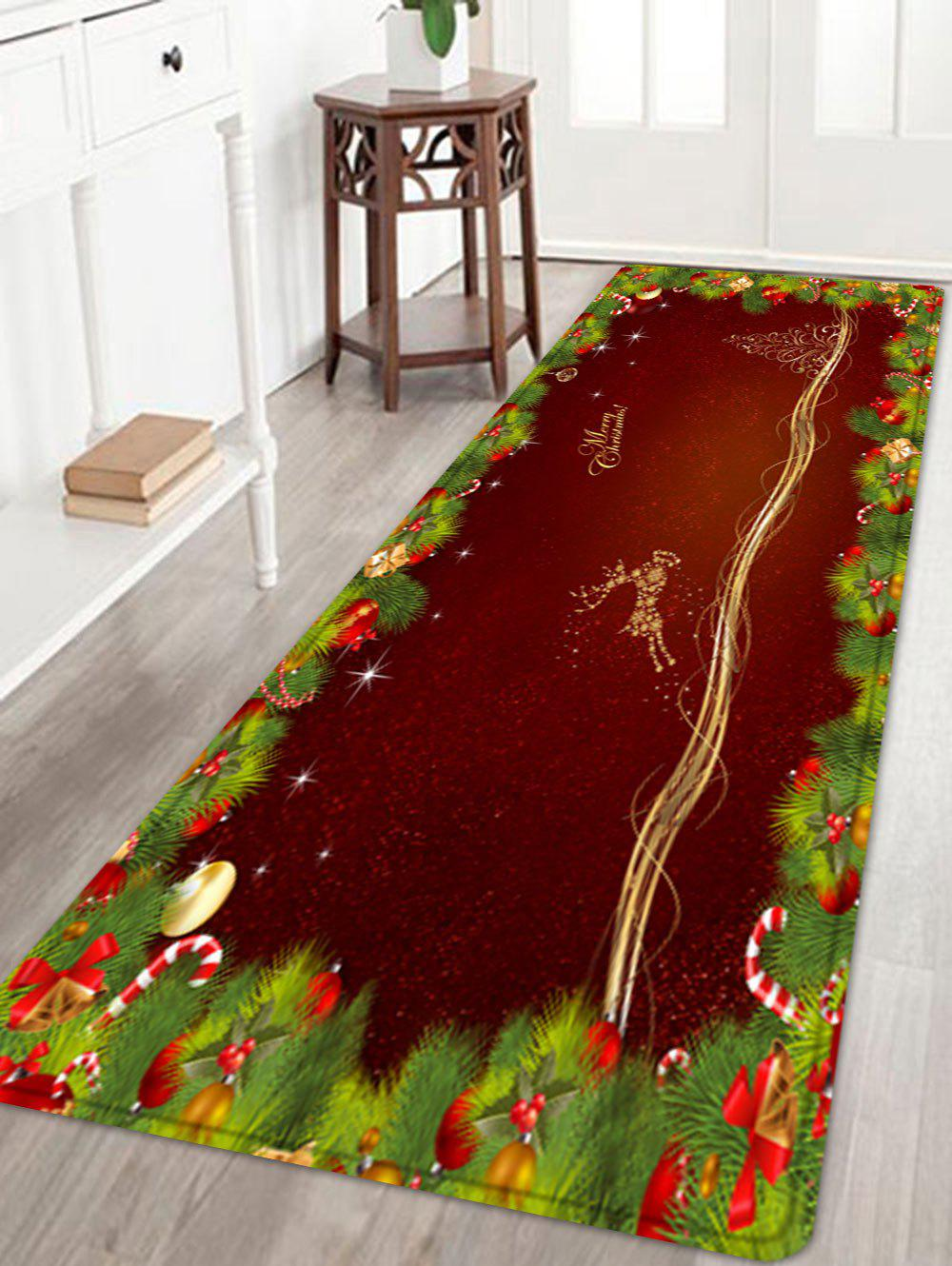 Christmas Pine Branches Deer Pattern Anti-skid Water Absorption Area RugHOME<br><br>Size: W24 INCH * L71 INCH; Color: DEEP RED; Products Type: Bath rugs; Materials: Flannel; Pattern: Animal,Plant; Style: Festival; Shape: Rectangle; Package Contents: 1 x Rug;