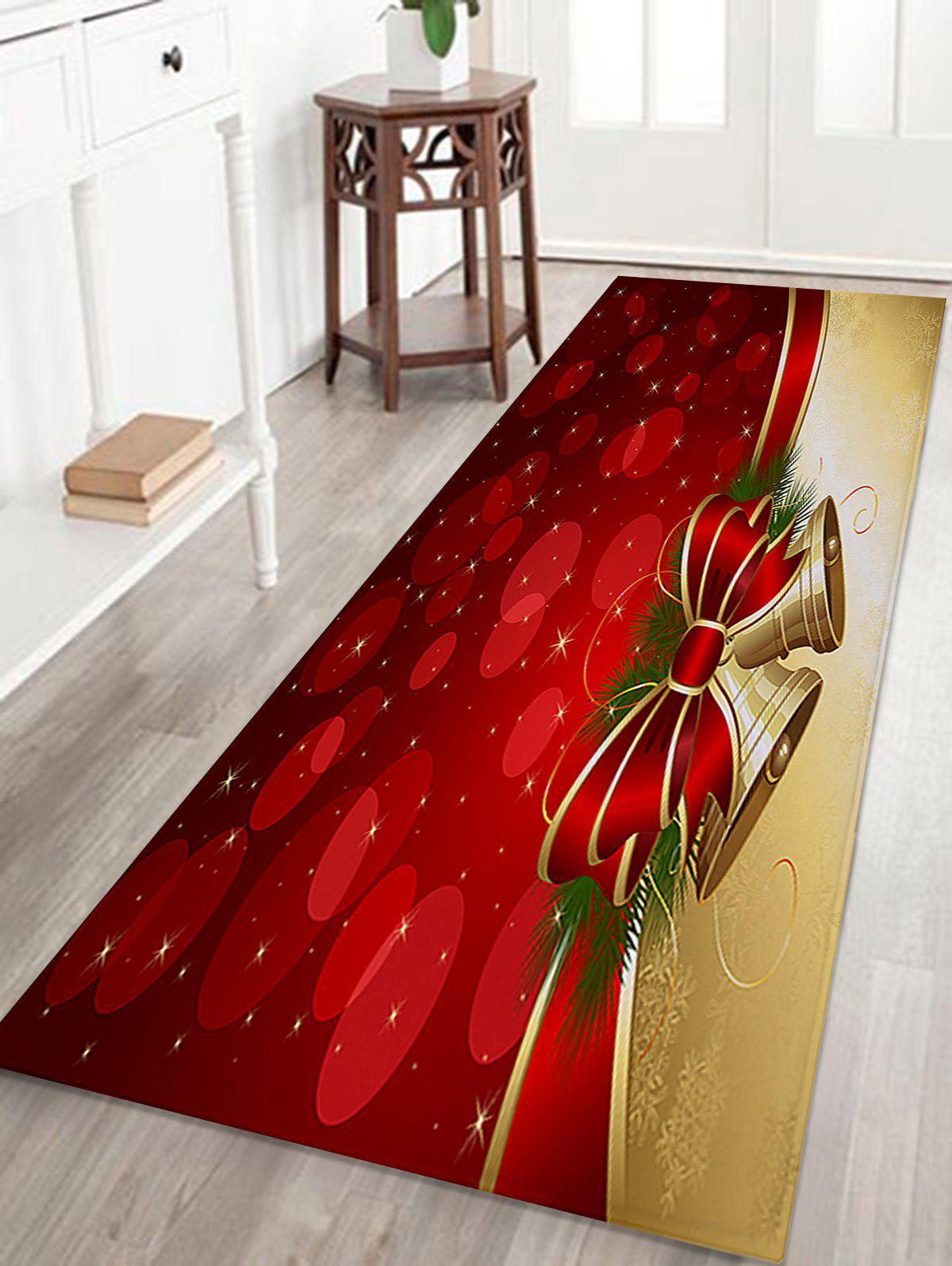 Christmas Bell Print Skidproof Coral Fleece Bath RugHOME<br><br>Size: W16 INCH * L47 INCH; Color: RED; Products Type: Bath rugs; Materials: Coral FLeece; Style: Festival; Shape: Rectangular; Package Contents: 1 x Rug;