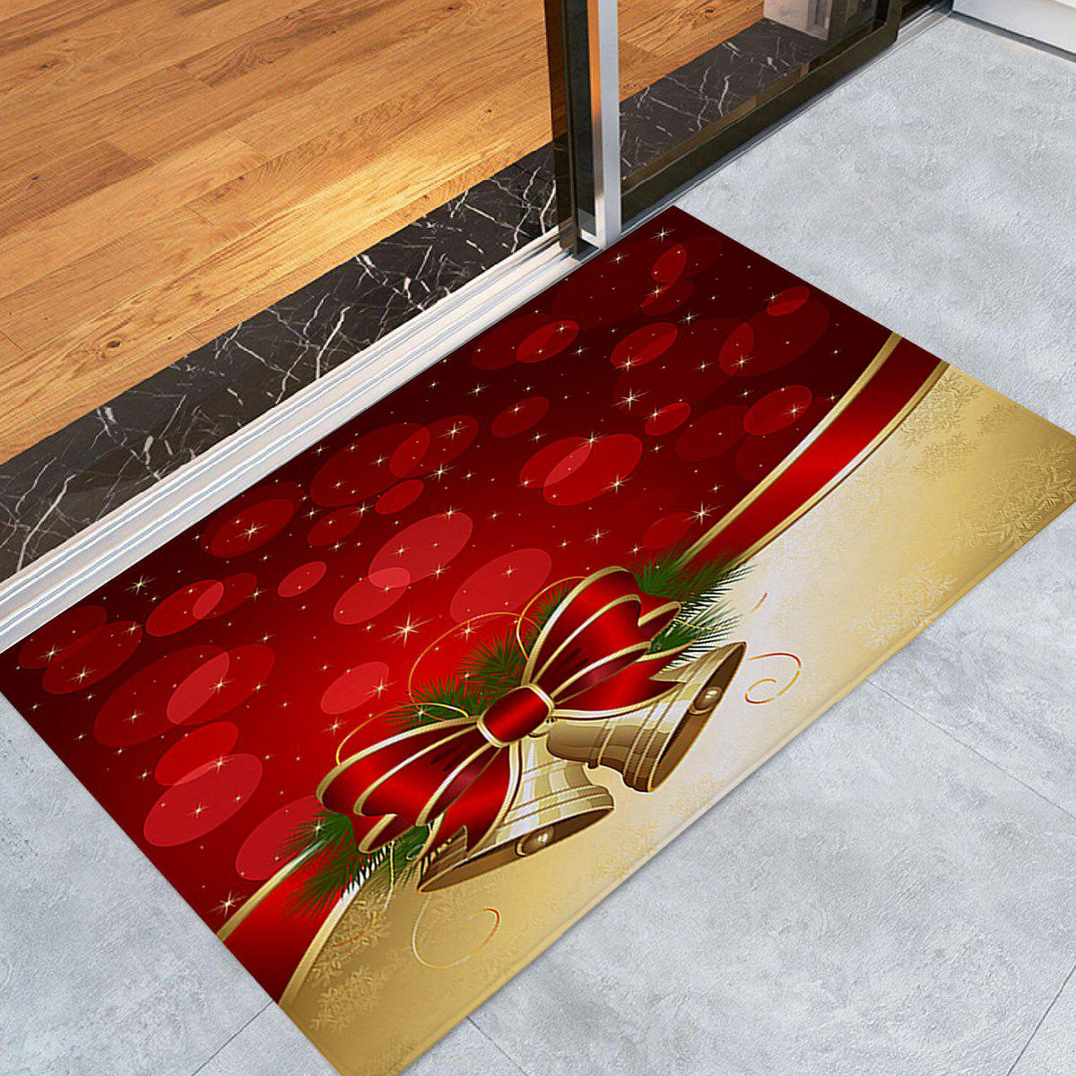 Christmas Bell Print Skidproof Coral Fleece Bath RugHOME<br><br>Size: W16 INCH * L24 INCH; Color: RED; Products Type: Bath rugs; Materials: Coral FLeece; Style: Festival; Shape: Rectangular; Package Contents: 1 x Rug;