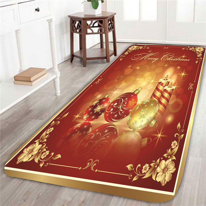 Christmas Candles And Balls Patterned Area RugHOME<br><br>Size: W16 INCH * L47 INCH; Color: RED AND GOLDEN; Products Type: Bath rugs; Materials: Coral FLeece; Pattern: Ball,Floral; Style: Festival; Shape: Rectangular; Package Contents: 1 x Area Rug;