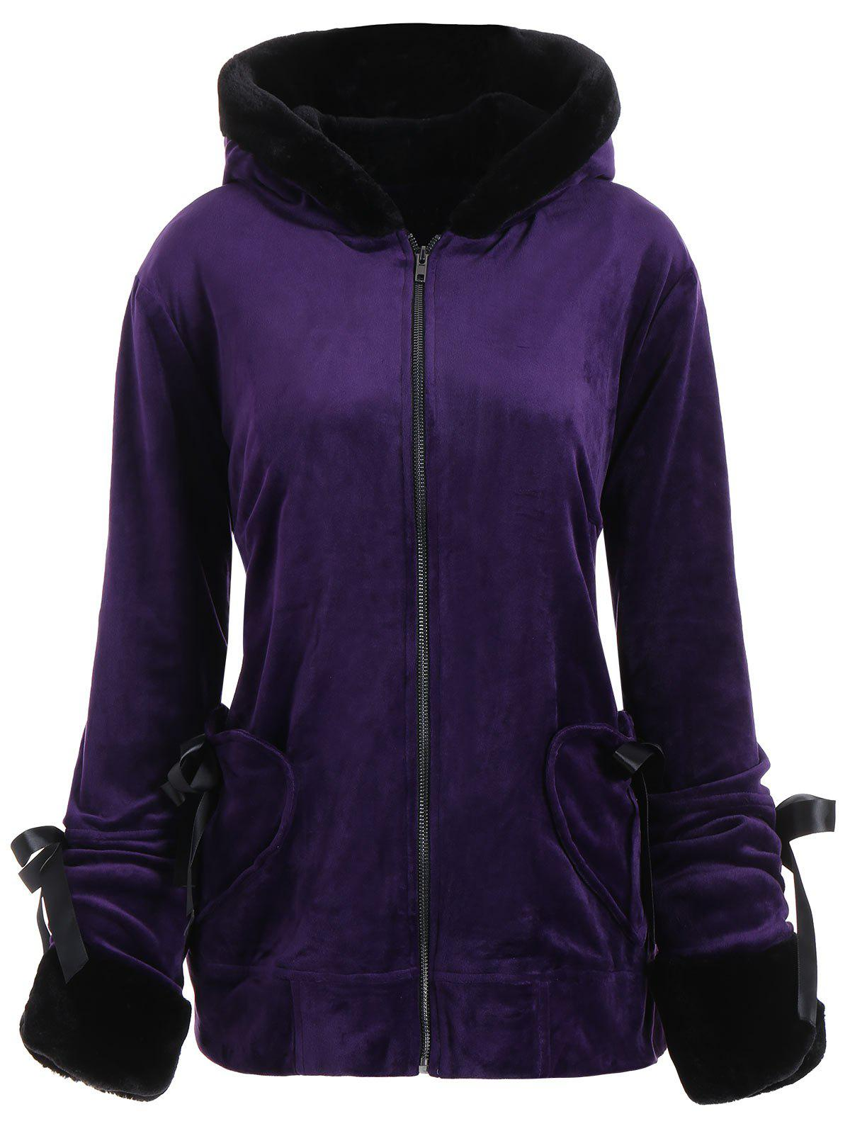 Hooded Heart Pockets Plus Size Velvet CoatWOMEN<br><br>Size: 5XL; Color: PURPLE; Clothes Type: Others; Material: Polyester,Spandex; Type: Slim; Shirt Length: Regular; Sleeve Length: Full; Collar: Hooded; Pattern Type: Others; Style: Fashion; Season: Fall,Winter; Weight: 0.5700kg; Package Contents: 1 x Coat;