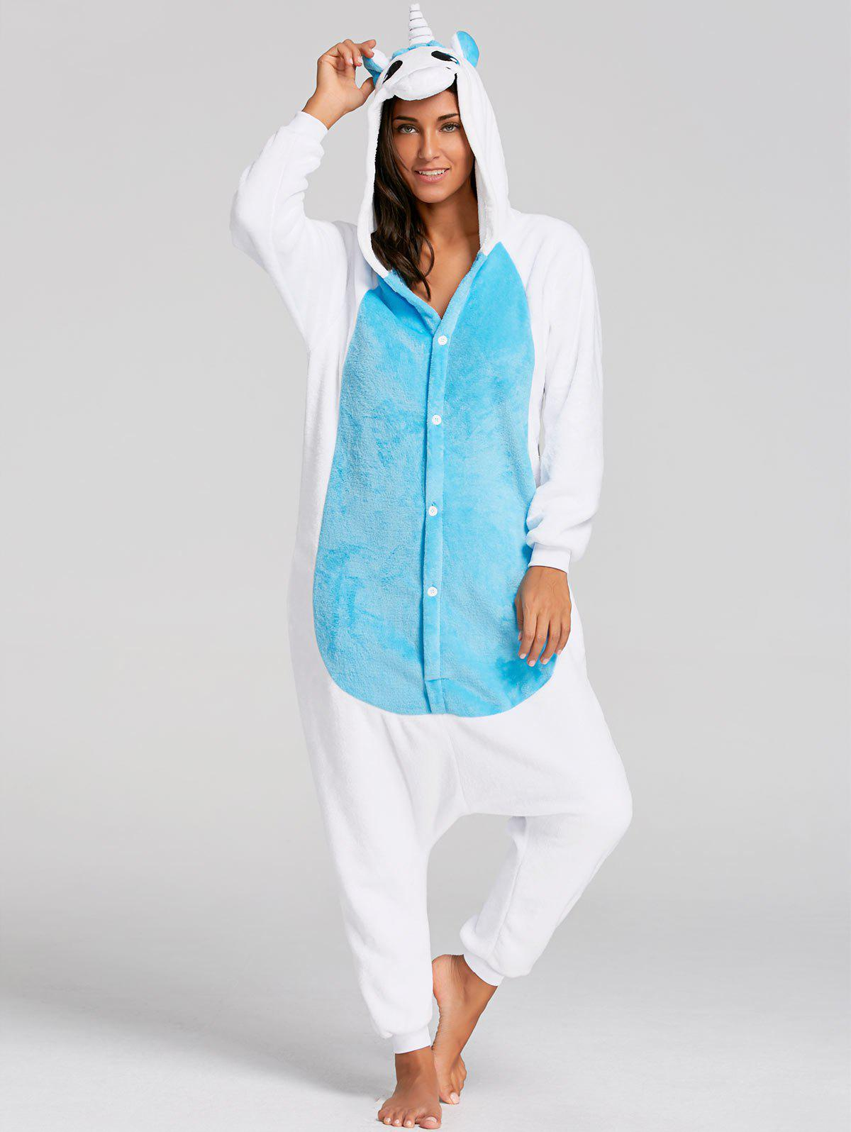 Christmas Unicorn Animal  Onesie PajamaWOMEN<br><br>Size: M; Color: BLUE; Material: Polyester; Pattern Type: Animal; Weight: 0.4500kg; Package Contents: 1 x Pajama;