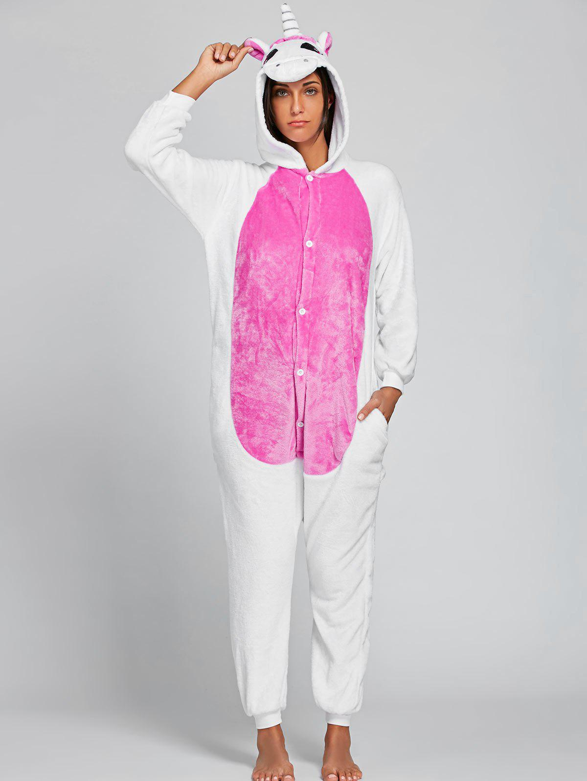 Adult Cute Unicorn Animal Onesie PajamaWOMEN<br><br>Size: S; Color: PINK; Material: Polyester; Pattern Type: Animal; Weight: 0.4500kg; Package Contents: 1 x Pajama;