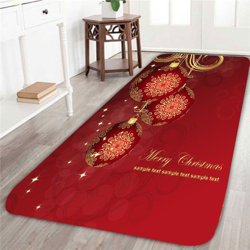 Christmas Balls Printed Home Decor Area RugHOME<br><br>Size: W16 INCH * L47 INCH; Color: RED; Products Type: Bath rugs; Materials: Coral FLeece; Pattern: Ball; Style: Festival; Shape: Rectangular; Package Contents: 1 x Area Rug;