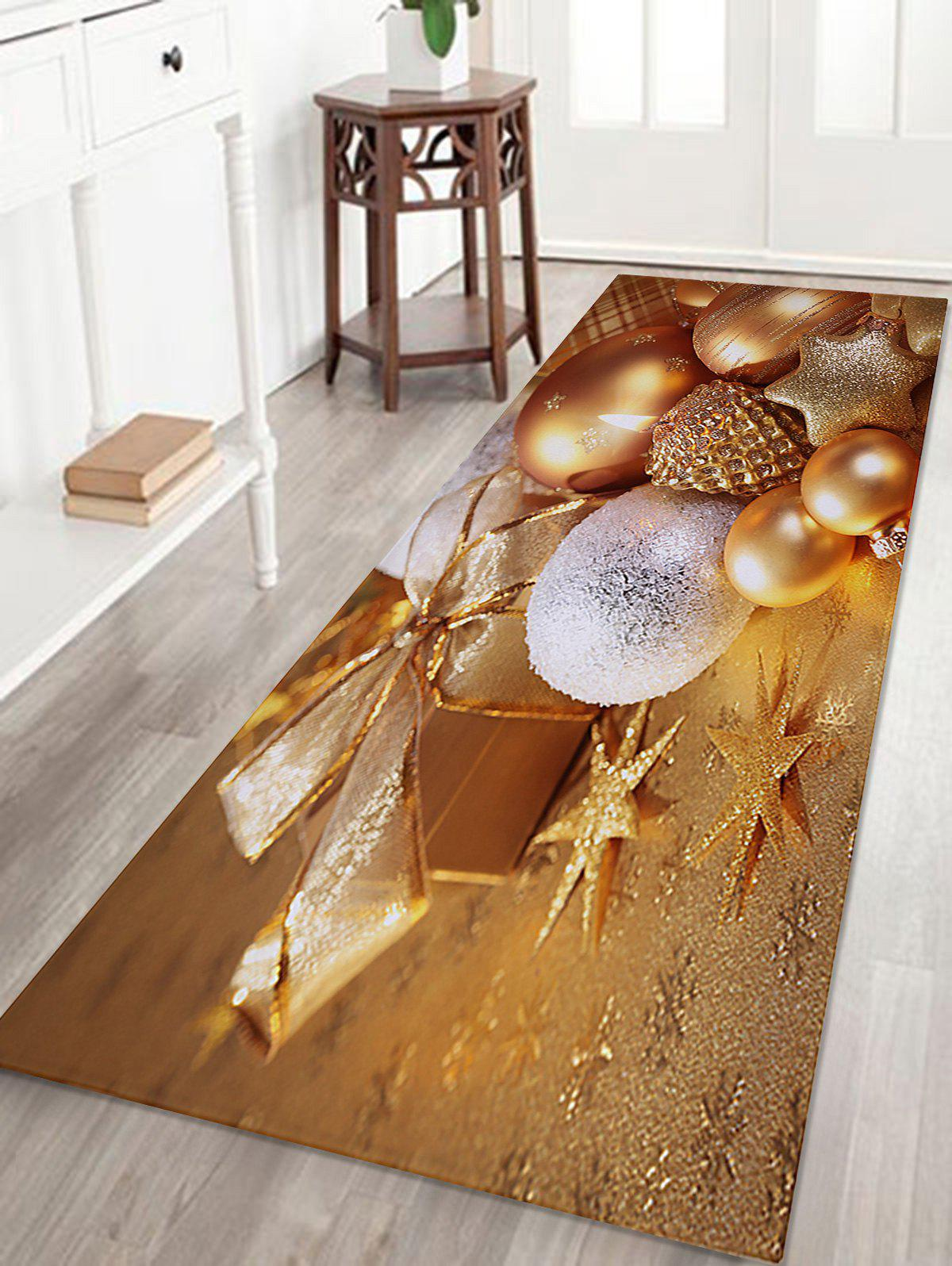 Christmas Baubles Candle Pattern Anti-skid Water Absorption Area RugHOME<br><br>Size: W24 INCH * L71 INCH; Color: GOLDEN; Products Type: Bath rugs; Materials: Coral FLeece; Pattern: Ball,Gift; Style: Festival; Shape: Rectangle; Package Contents: 1 x Rug;