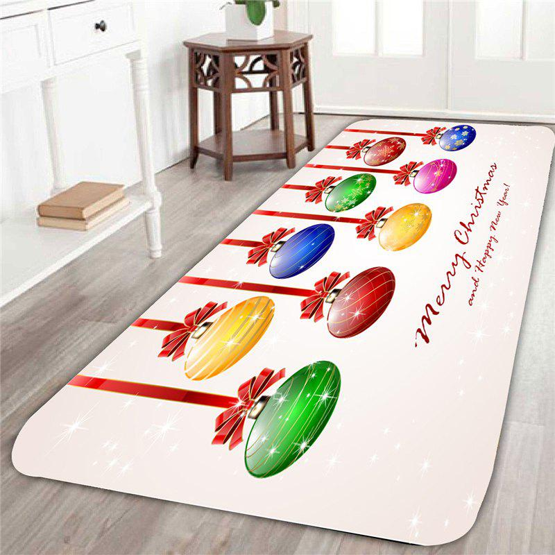 Christmas Colorful Balls Patterned Indoor Area RugHOME<br><br>Size: W16 INCH * L47 INCH; Color: COLORFUL; Products Type: Bath rugs; Materials: Coral FLeece; Pattern: Ball; Style: Festival; Shape: Rectangular; Package Contents: 1 x Area Rug;