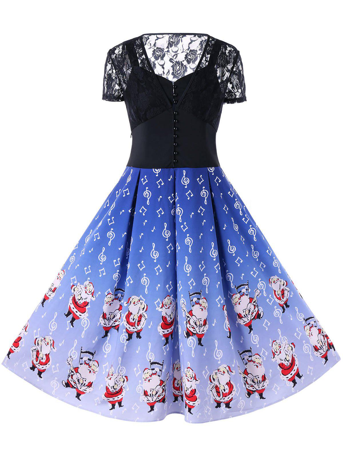 Christmas Sheer Music Notes Swing DressWOMEN<br><br>Size: L; Color: BLUE; Style: Vintage; Material: Polyester; Silhouette: A-Line; Dresses Length: Mid-Calf; Neckline: V-Neck; Sleeve Length: Short Sleeves; Pattern Type: Character; With Belt: No; Season: Fall,Spring; Weight: 0.3800kg; Package Contents: 1 x Dress;