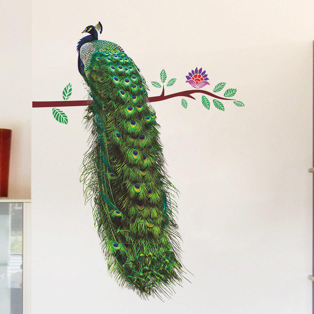 Peacock Living Room Decorative PVC Removable Wall StickerHOME<br><br>Size: 30*90CM; Color: MALACHITE GREEN; Wall Sticker Type: Plane Wall Stickers; Functions: Decorative Wall Stickers; Pattern Type: Animal; Material: PVC; Feature: Removable; Weight: 0.1100kg; Package Contents: 1 x Wall Sticker;