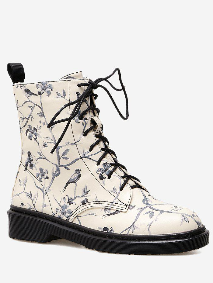 Birds in the Tree Printed Low Heel Ankle BootsSHOES &amp; BAGS<br><br>Size: 37; Color: BLACK; Gender: For Women; Boot Type: Fashion Boots; Season: Spring/Fall,Winter; Boot Height: Ankle; Toe Shape: Round Toe; Heel Type: Chunky Heel; Heel Height Range: Low(0.75-1.5); Heel Height: 3CM; Pattern Type: Floral; Closure Type: Lace-Up; Shoe Width: Medium(B/M); Upper Material: PU; Platform Height: 1CM; Weight: 1.1200kg; Package Contents: 1 x Boots (pair);