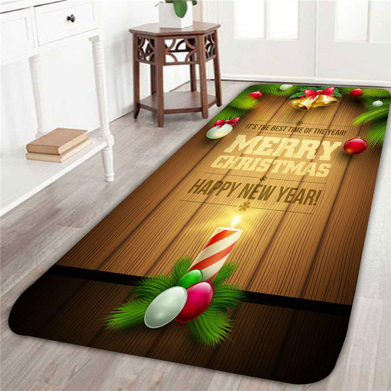 Christmas Candle And Balls Pattern Indoor Area RugHOME<br><br>Size: W16 INCH * L47 INCH; Color: COLORMIX; Products Type: Bath rugs; Materials: Coral FLeece; Pattern: Ball,Letter; Style: Festival; Shape: Rectangular; Package Contents: 1 x Area Rug;