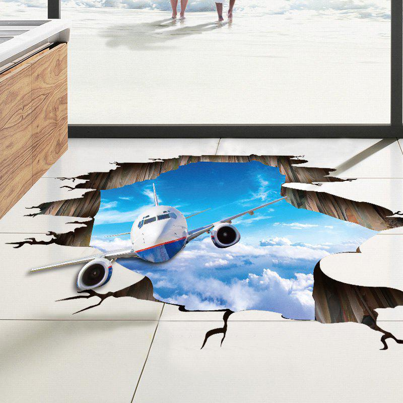 Best 3D Sky Airplane Pattern PVC Removable Floor Wall Sticker