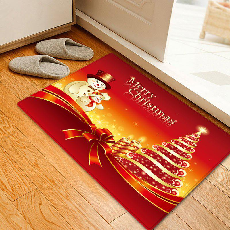 Christmas Tree Snowmen Pattern Anti-skid Water Absorption Area RugHOME<br><br>Size: W20 INCH * L31.5 INCH; Color: RED; Products Type: Bath rugs; Materials: Flannel; Pattern: Christmas Tree,Letter,Snowman; Style: Festival; Shape: Rectangle; Package Contents: 1 x Rug;