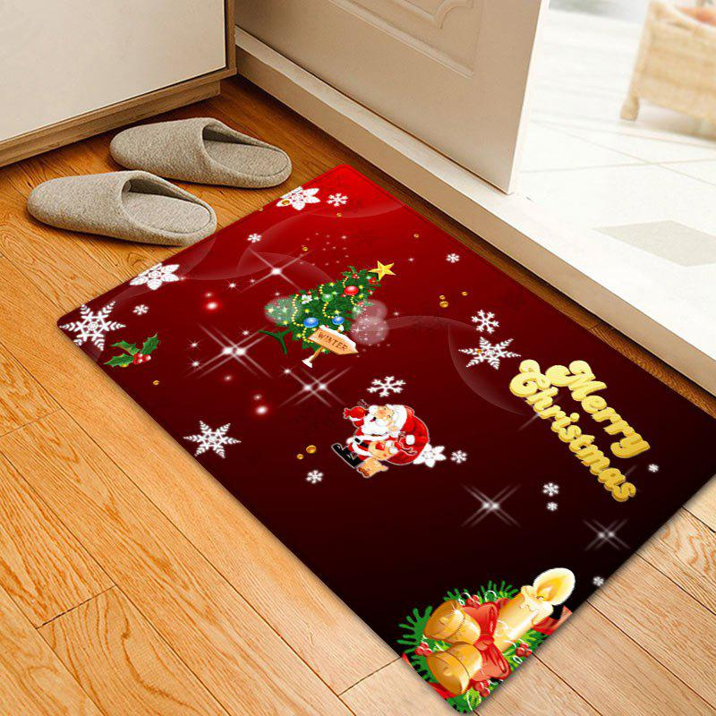 Christmas Tree Letter Pattern Anti-skid Water Absorption Area Rug, Red