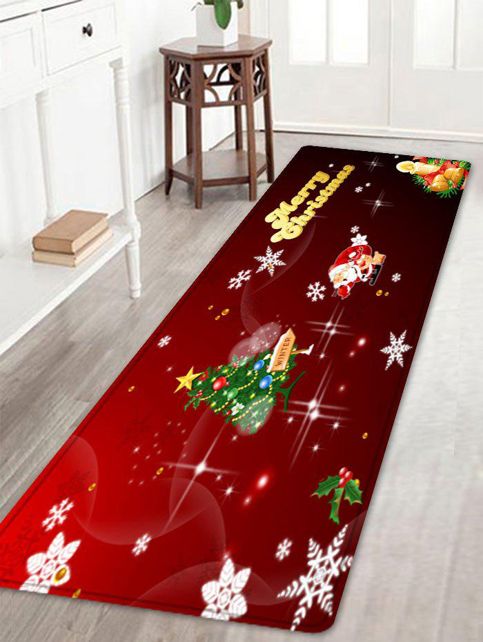 Christmas Tree Letter Pattern Anti-skid Water Absorption Area RugHOME<br><br>Size: W16 INCH * L47 INCH; Color: RED; Products Type: Bath rugs; Materials: Flannel; Pattern: Christmas Tree,Letter; Style: Festival; Shape: Rectangle; Package Contents: 1 x Rug;