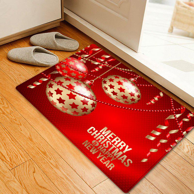 Christmas Stars Baubles Pattern Anti-skid Water Absorption Area RugHOME<br><br>Size: W16 INCH * L24 INCH; Color: RED; Products Type: Bath rugs; Materials: Flannel; Pattern: Ball; Style: Festival; Shape: Rectangle; Package Contents: 1 x Rug;