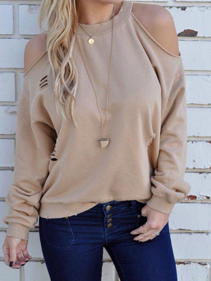Ripped Cold Shoulder Pullover SweatshirtWOMEN<br><br>Size: L; Color: KHAKI; Material: Cotton,Polyester; Shirt Length: Regular; Sleeve Length: Full; Style: Fashion; Pattern Style: Solid; Season: Fall; Weight: 0.3300kg; Package Contents: 1 x Sweatshirt;