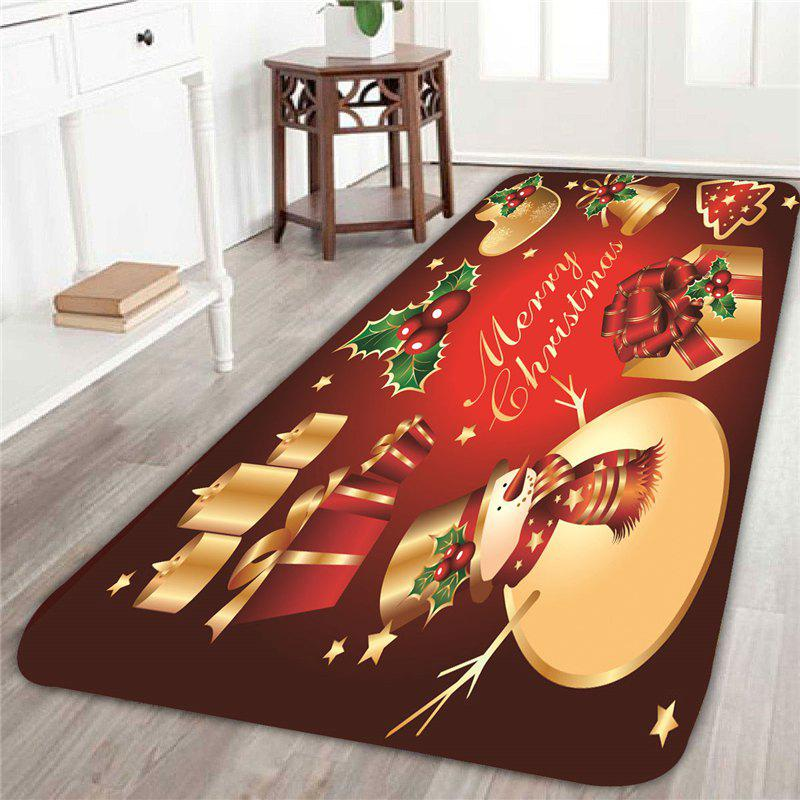 Christmas Snowmen Printed Skid Resistant RugHOME<br><br>Size: W24 INCH * L71 INCH; Color: COLORFUL; Products Type: Bath rugs; Materials: Coral FLeece; Pattern: Snowman; Style: Festival; Shape: Rectangle; Package Contents: 1 x Rug;