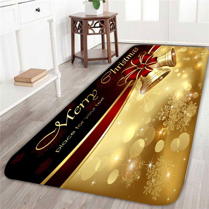Skidproof Christmas Bell Printed RugHOME<br><br>Size: W16 INCH * L47 INCH; Color: GOLDEN; Products Type: Bath rugs; Materials: Coral FLeece; Pattern: Print; Style: Festival; Shape: Rectangle; Package Contents: 1 x Rug;