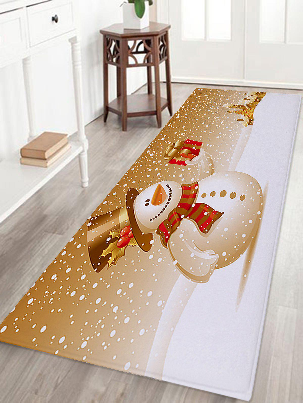 Christmas Snowman Print Coral Fleece Skidproof Bath MatHOME<br><br>Size: W16 INCH * L47 INCH; Color: COLORMIX; Products Type: Bath rugs; Materials: Coral FLeece; Pattern: Gift,Snowman; Style: Festival; Shape: Rectangular; Package Contents: 1 x Rug;