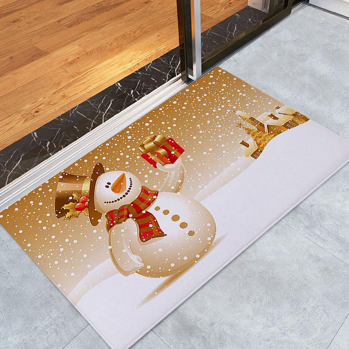 Christmas Snowman Print Coral Fleece Skidproof Bath MatHOME<br><br>Size: W24 INCH * L35.5 INCH; Color: COLORMIX; Products Type: Bath rugs; Materials: Coral FLeece; Pattern: Gift,Snowman; Style: Festival; Shape: Rectangular; Package Contents: 1 x Rug;