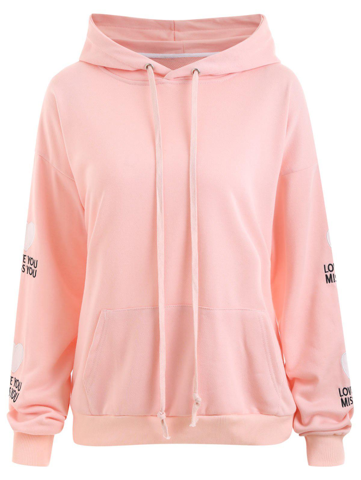 Plus Size Heart Patches Sleeve  Love You Kangaroo HoodieWOMEN<br><br>Size: 2XL; Color: PINK; Material: Cotton Blend,Polyester; Shirt Length: Regular; Sleeve Length: Full; Style: Fashion; Pattern Style: Heart,Letter; Embellishment: Appliques; Season: Fall,Winter; Weight: 0.6300kg; Package Contents: 1 x Hoodie;