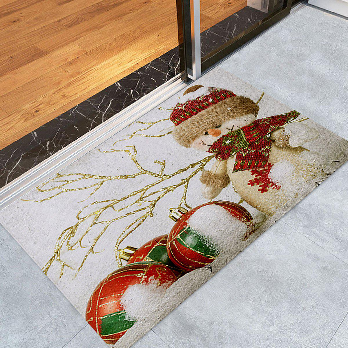 Christmas Snowman Print Coral Fleece Antislip Bath MatHOME<br><br>Size: W24 INCH * L35.5 INCH; Color: WHITE; Products Type: Bath rugs; Materials: Coral FLeece; Pattern: Snowman; Style: Festival; Shape: Rectangular; Package Contents: 1 x Rug;