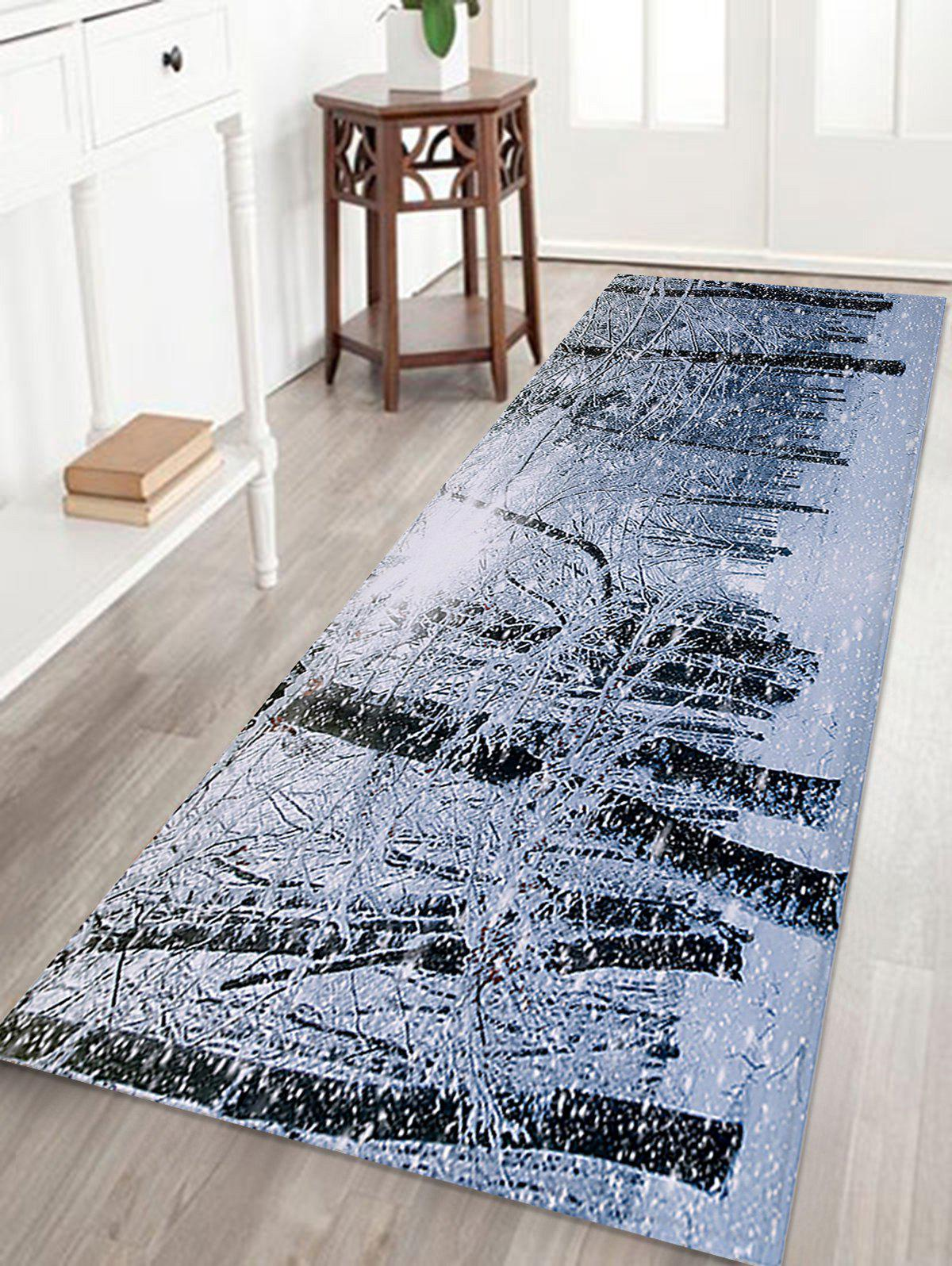 Christmas Snow Forest Printed Skidproof Coral Fleece Bath MatHOME<br><br>Size: W16 INCH * L47 INCH; Color: COLORMIX; Products Type: Bath rugs; Materials: Coral FLeece; Pattern: Forest; Style: Festival; Shape: Rectangular; Package Contents: 1 x Rug;