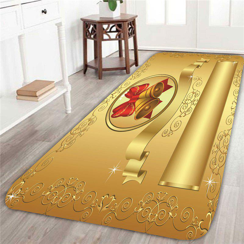 Skidproof Golden Christmas Bell Pattern RugHOME<br><br>Size: W24 INCH * L71 INCH; Color: GOLDEN; Products Type: Bath Mats; Materials: Coral FLeece; Pattern: Print; Style: Festival; Shape: Rectangle; Package Contents: 1 x Rug;