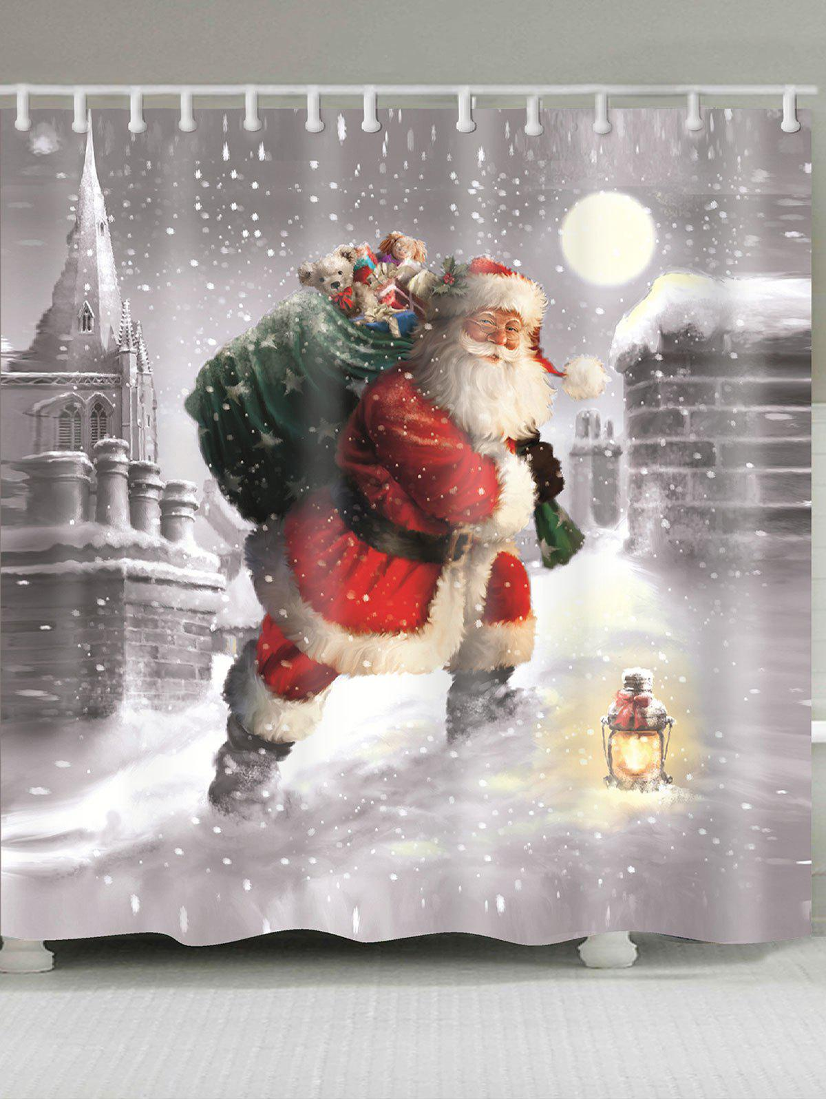 Waterproof Snow and Santa Claus Pattern Shower CurtainHOME<br><br>Size: W71 INCH * L79 INCH; Color: GRAY; Products Type: Shower Curtains; Materials: Polyester; Pattern: Santa Claus; Style: Festival; Number of Hook Holes: W59 inch*L71 inch: 10; W71 inch*L71 inch: 12; W71 inch*L79 inch: 12; Package Contents: 1 x Shower Curtain 1 x Hooks (Set);