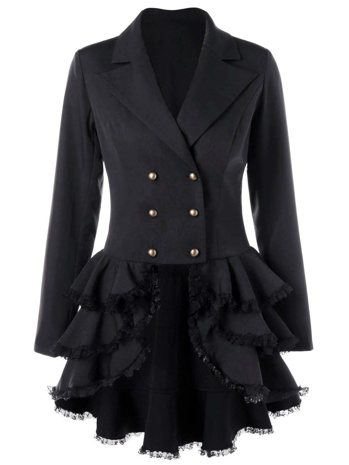 Double Breasted Layered Vintage CoatWOMEN<br><br>Size: XL; Color: BLACK; Clothes Type: Trench; Material: Polyester; Type: Slim; Shirt Length: Long; Sleeve Length: Full; Collar: Notched Collar; Pattern Type: Solid; Style: Vintage; Season: Fall,Spring; Weight: 0.4700kg; Package Contents: 1 x Coat;