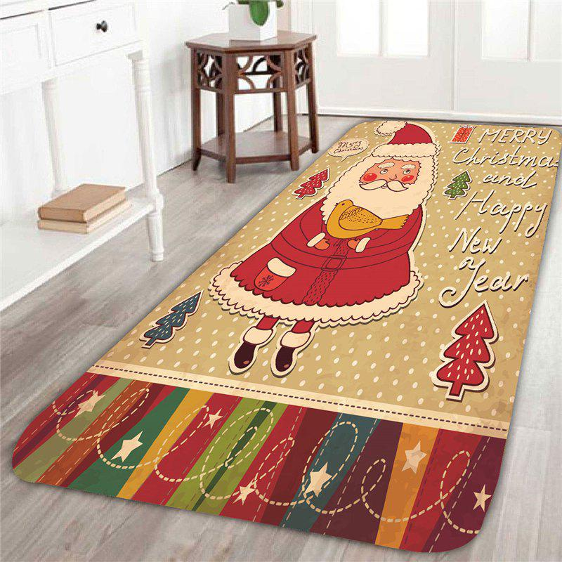 Skidproof Father Christmas Pattern RugHOME<br><br>Size: W24 INCH * L71 INCH; Color: COLORFUL; Products Type: Bath rugs; Materials: Coral FLeece; Pattern: Santa Claus; Style: Festival; Shape: Rectangle; Package Contents: 1 x Rug;
