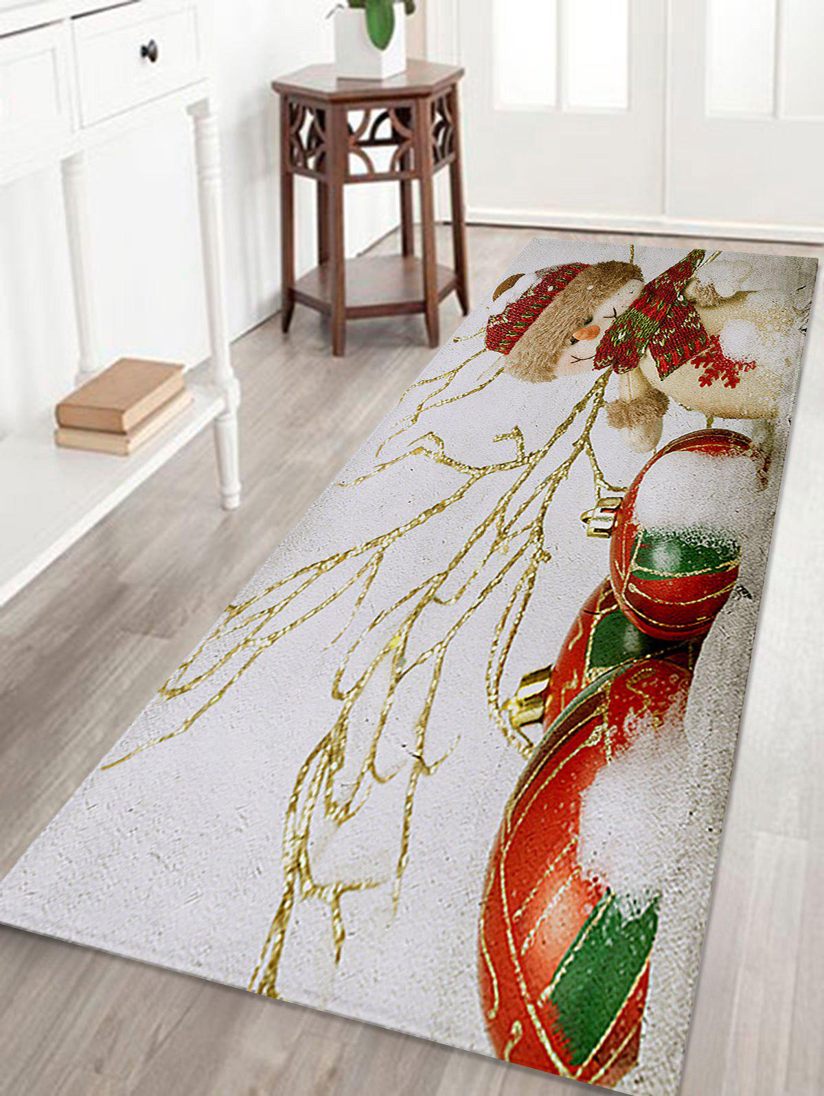 Christmas Snowman Print Coral Fleece Antislip Bath MatHOME<br><br>Size: W24 INCH * L71 INCH; Color: WHITE; Products Type: Bath rugs; Materials: Coral FLeece; Pattern: Snowman; Style: Festival; Shape: Rectangular; Package Contents: 1 x Rug;